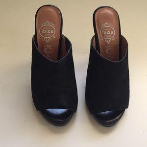 Jeffrey Campbell black calf hair mules